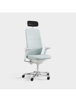 Capella, Modell CF121 White Edition, armlene og nakkestøtte, mellomstor rygg, Remix 3961 lyseblå