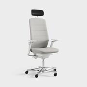 Capella, Modell CF121 White Edition, armlene og nakkestøtte, mellomstor rygg, Remix 3990 lysegrå
