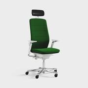 Capella, Modell CF121 White Edition, armlene og nakkestøtte, mellomstor rygg, Nemi Melange 5170 grønn