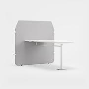 Fields, Bord i vitt laminat med Co-creation skärm, Remix 3990 ljusgrå