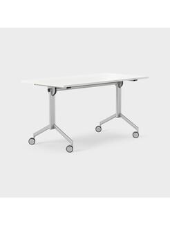 Foldex 140 x 70 cm, Fällbar bordskiva, låsbara hjul, ben i silver, Skiva i vitlaminat