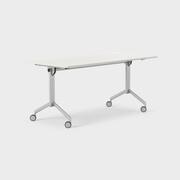 Foldex 160 x 80 cm, Sammenleggbar bordplate, låsbare hjul, ben i sølv, Plate i gråhvite laminat