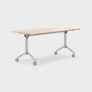Foldex 160 x 80 cm, Sammenleggbar bordplate, låsbare hjul, ben i sølv, Plate i eik laminat