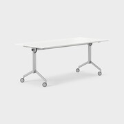 Foldex 180 x 80 cm, Sammenleggbar bordplate, låsbare hjul, ben i sølv, Plate i hvit laminat