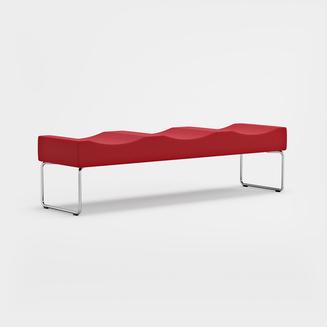 Libra, 3-istuttava, jalat kromatut, Fame 4730 punainen