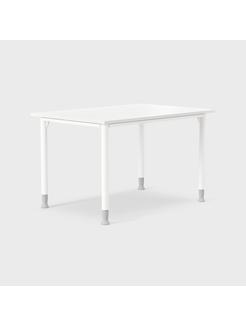 Series[E]One 120 x 70 cm, Hvite ben i ställhøyde 650-850 mm, Plate i hvit laminat