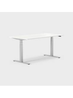 Oberon 160 x 80 cm, Sitt / stå, ben i sølv, Plate i hvit laminat