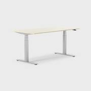 Oberon 160 x 80 cm, Sitt / stå, ben i sølv, Plate i bjørk
