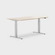 Oberon 160 x 80 cm, Sitt / stå, ben i sølv, Plate i eik