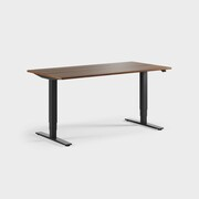 Oberon 160 x 80 cm, Sitt / stå, ben i svart, Plate i valnøtt laminat