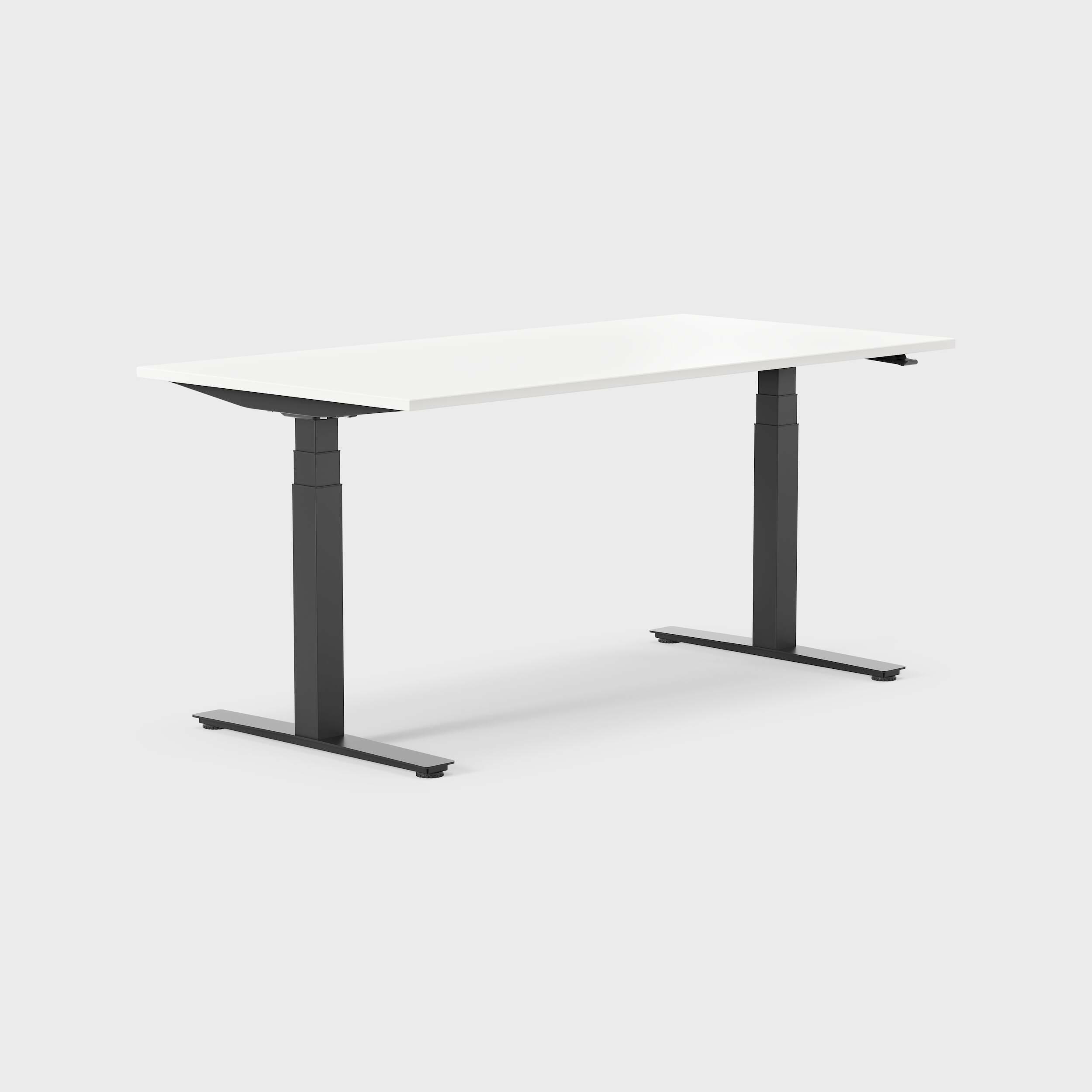 Hjørneskrivebord MODULUS, hevsenk, 1600x2000 mm, svart