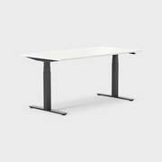 Oberon 160 x 80 cm, Sitt / stå, ben i svart, Plate i hvit laminat