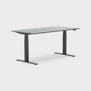Oberon 160 x 80 cm, Sitt / stå, ben i svart, Plate i mørkegrå laminat