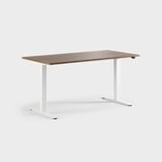 Oberon 160 x 80 cm, Sitt / stå, ben i hvitt, Plate i valnøtt laminat