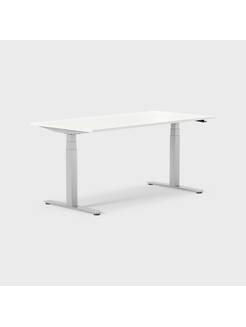 Oberon 160 x 80 cm, Sitt/stå, ben i silvergrått, Skiva i vitlaminat