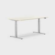 Oberon 160 x 80 cm, Sitt/stå, ben i silvergrått, Skiva i björk