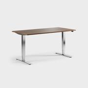 Oberon 160 x 80 cm, Sitt/stå, ben i krom, Skiva i laminat valnöt
