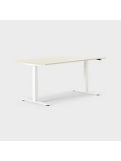 Oberon 160 x 80 cm, Sitt/stå, ben i vitt, Skiva i björk