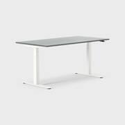 Oberon 160 x 80 cm, Sitt/stå, ben i vitt, Skiva i mörkgrå laminat