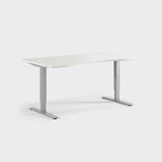 Oberon 160 x 90 cm, Sitt justerbart, ben i silvergrått, Skiva i laminat vit
