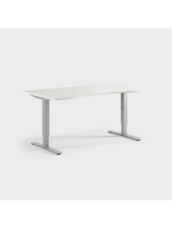 Oberon 160 x 90 cm, Justerbart, ben i sølv, Plate i hvit laminat