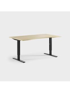 Oberon 160 x 90 cm, Justerbart, ben i svart, Plate i bjørk