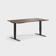 Oberon 160 x 90 cm, Justerbart, ben i svart, Plate i valnøtt laminat