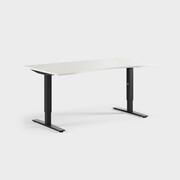 Oberon 160 x 90 cm, Sitt justerbart, ben i svart, Skiva i laminat vit