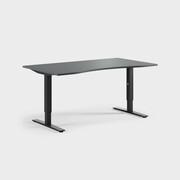 Oberon 160 x 90 cm, Justerbart, ben i svart, Plate i mørkegrå laminat