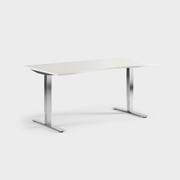 Oberon 160 x 90 cm, Sitt justerbart, ben i krom, Skiva i laminat vit
