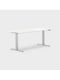 Oberon 180 x 80 cm, Sitt / stå, ben i sølv, Plate i hvit laminat