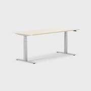 Oberon 180 x 80 cm, Sitt / stå, ben i sølv, Plate i bjørk