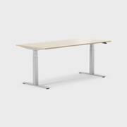 Oberon 180 x 80 cm, Sitt / stå, ben i sølv, Plate i eik