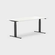 Oberon 180 x 80 cm, Sitt / stå, ben i svart, Plate i hvit laminat