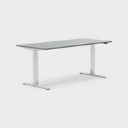 Oberon 180 x 80 cm, Sitt / stå, ben i krom, Plate i mørkegrå laminat