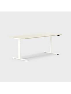 Oberon 180 x 80 cm, Sitt / stå, ben i hvitt, Plate i bjørk