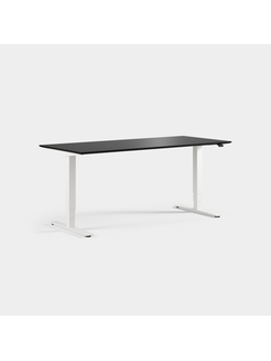Plate i svart laminat med kant, Sitt / stå, ben i hvitt