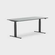 Oberon 180 x 80 cm, Sitt/stå, ben i svart, Skiva i mörkgrå laminat