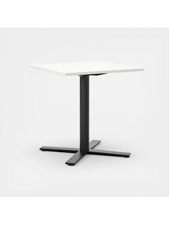 Oberon 70 x 70 cm, Ben i svart, H 74 cm, 70 x 70 cm, Plate i hvit laminat