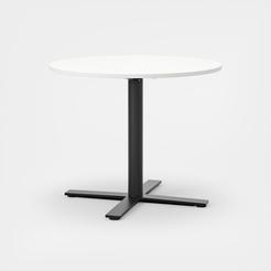 Oberon Ø90 cm, Ben i svart. H 74 cm, Ø90 cm, Plate i hvit laminat