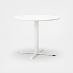 Oberon Ø90 cm, Ben i hvit. H 74 cm, Ø90 cm, Plate i hvit laminat