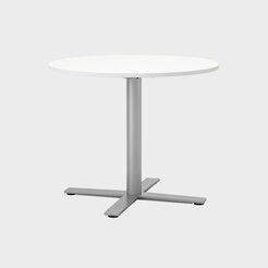 Oberon Ø90 cm, Ben i sølv. H 74 cm, Ø90 cm, Plate i hvit laminat