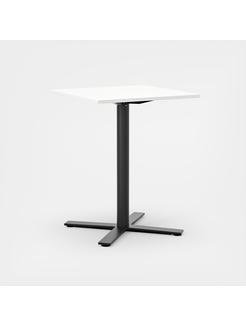 Oberon 70 x 70 cm, Ben i svart. H 90 cm, 70 x 70 cm, Plate i hvit laminat
