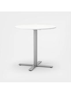 Oberon Ø90 cm, Ben i sølv H 90 cm, Ø90 cm, Plate i hvit laminat