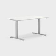 Serie[P] 140 x 80 cm, Sitt/stå, ben i silvergrått, Skiva i laminat vit
