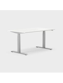 Serie[P] 140 x 80 cm, Sitt/stå, ben i silvergrått, Ställområde 620-1270 mm (SSP6), Skiva i laminat vit