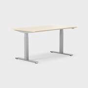 Serie[P] 140 x 80 cm, Sitt/stå, ben i silvergrått, Skiva i laminat björk