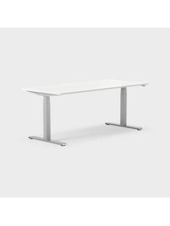 Serie[P] 160 x 80 cm, Sitt/stå, ben i silvergrått, Skiva i laminat vit