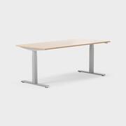 Serie[P] 160 x 80 cm, Sitt/stå, ben i silvergrått, Skiva i laminat ek