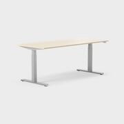 Serie[P] 160 x 80 cm, Sitt/stå, ben i silvergrått, Ställområde 620-1270 mm (SSP6), Skiva i laminat björk